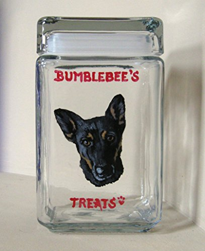 German Shepherd Custom Canister, Kitchen Decor, Pet Storage Jar, Dog Treat Container, Biscuit Holder, Custom Pet Portrait (Shepherd Treat Jar)