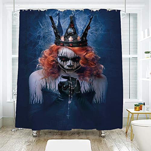 scocici Bathroom Curtain Separation Door Curtain Shower Curtain,Queen,Queen of Death Scary Body Art Halloween Evil Face Bizarre Make Up Zombie,Navy Blue Orange Black,94.4