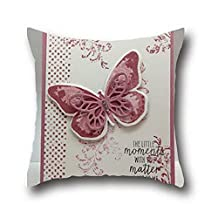 Oshiley Oil Painting Butterfly Art Cotton Square Throw Pillowcase ( 16*16 )