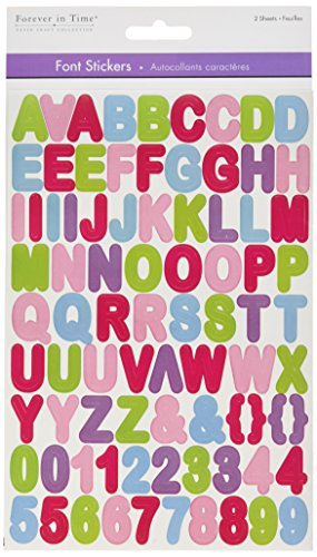 Multicraft Imports SS079C Pastel Mix Letters Font Fun Stickers, Multicolor