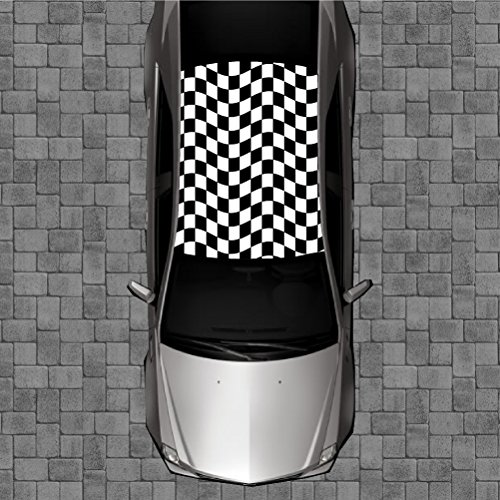 R64 CHECKERED FLAG Roof Wrap - Decal Decals Wraps Vinyl Wraps Art Poster Image Carbon Hood Car Truck Fiber Hood