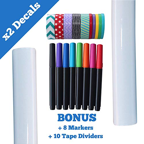 Dry Erase White Board Decal Set with Supplies - 20 Piece Kit with 2 Large Wall Vinyl Decals Fridge Stickers, 8 Marker Pens, 10 Washi Tape Dividers - Easy to -
