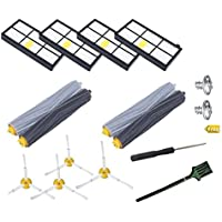 GHM Replenishment Roomba 800/900 Series Kit for Roomba 890 805 860 870 880 960 980 Robotic Vacuum Cleaner,Replacement parts with 2 Set Debris Extractor Set & 4 Side Brushes & 4 Hepa Filters