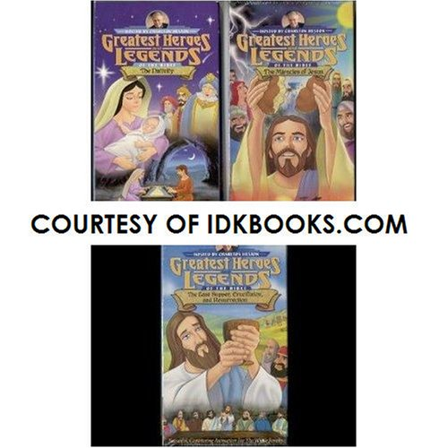 **3-PACK: Greatest Heroes and Legends of The Bible Series: The Nativity *PLUS* The Miracles of Jesus *PLUS* The Last Supper, Crucifixion, and Resurrection, Hosted by Charlton Heston (Christian Children Videos) *SHIPS SAME DAY WITH FREE TRACKING* IDK Bundles