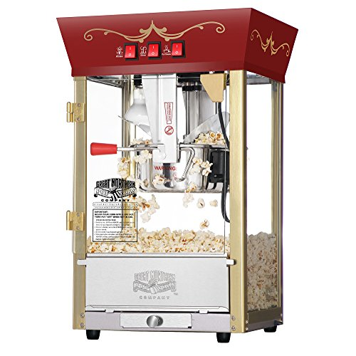Great Northern Popcorn Red Matinee Movie Theater Style 8 oz. Ounce Antique Popcorn Machine ()