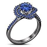 TVS-JEWELS Full Black Rhodium Plated Sterling Silver Solitaire W/ Accents Ring Round Cut Blue Stone (10)