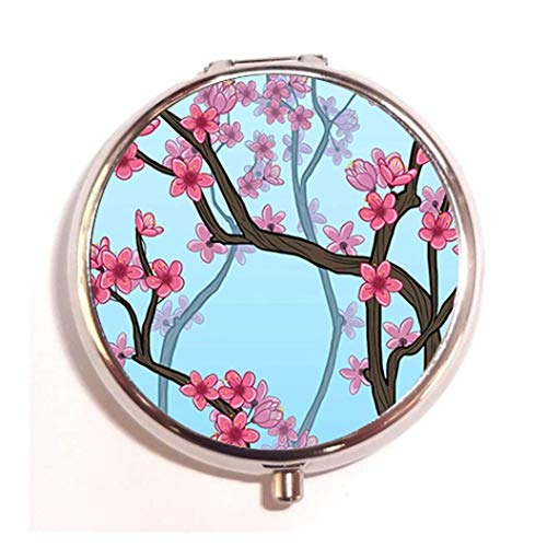 - Cheery Cherry Blossoms Custom Round Silver Pill Box Pocket 2.1 inches Medicine Tablet Holder Organizer Case for Purse