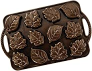 Nordic Ware Leaflettes Cakelet Pan, 2.5 Cup Capacity, Bronze