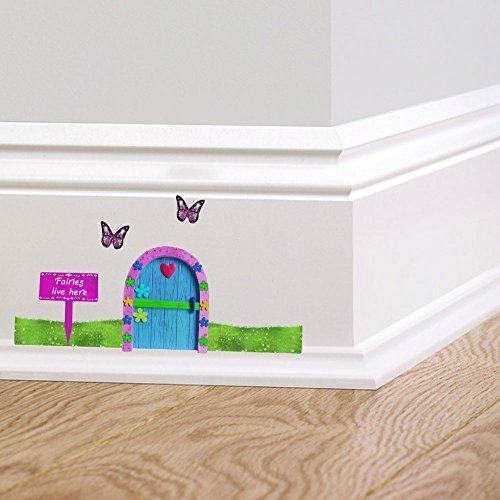 Full Colour Fairies Live Here Fairy Pixie Elf Door Butterflies Wall Sticker Decal Skirting Board Graphic