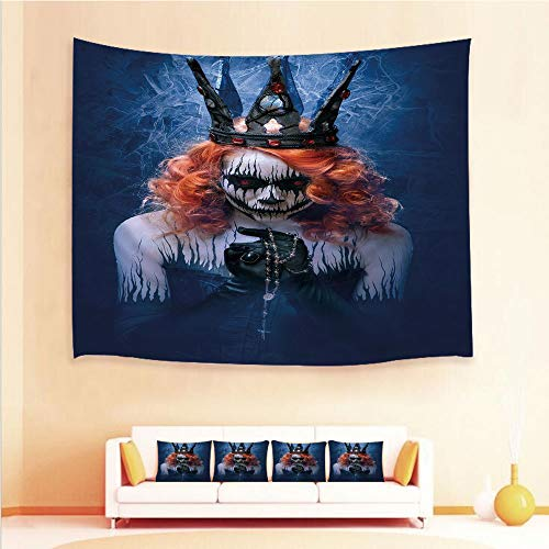 iPrint 1pcs Hanging Tapestry 4pcs Pillow case,Wall Hanging Blanket Beach Towels Picnic Mat Home Decor,Art Halloween Evil Face Bizarre Make Up Zombie,3D Printed Tapestry Bedroom Living Room -
