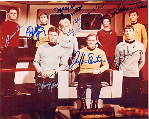 (Star Trek early cast reprint signed photo #1 Shatner Nimoy + RP)
