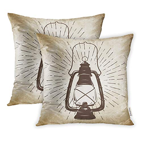 Emvency Pack of 2 Throw Pillow Covers Print Polyester Zippered Pillowcase Grunge Sketch Vintage Oil Lantern Kerosene Lamp with Rays of Light Design 16x16 Square Decor for Home Bed Couch Sofa
