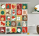 Snowman Shower Curtain Ambesonne Christmas Shower Curtain Funny Christmas Bathroom Decorations by, Holiday Season Patterns with Santa Rudolf the Reindeer Gingerbread Man Candy Cane Snowflakes Snowman Xmas Tree, Multi