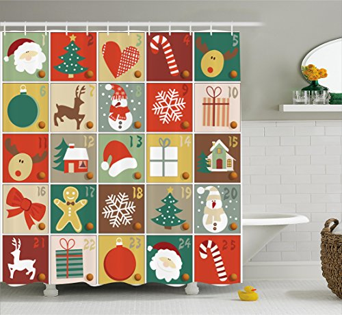 Christmas Shower Curtain Funny Christmas Bathroom Decorations by Ambesonne, Holiday Season Patterns with Santa Rudolf the Reindeer Gingerbread Man Candy Cane Snowflakes Snowman Xmas Tree, (Gingerbread Man Candy Cane)