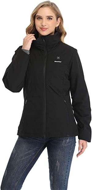 Smarkey Women Heated Jacket With 1pcs 4400mAh Battery And Charger For Winter Outdoor Wear