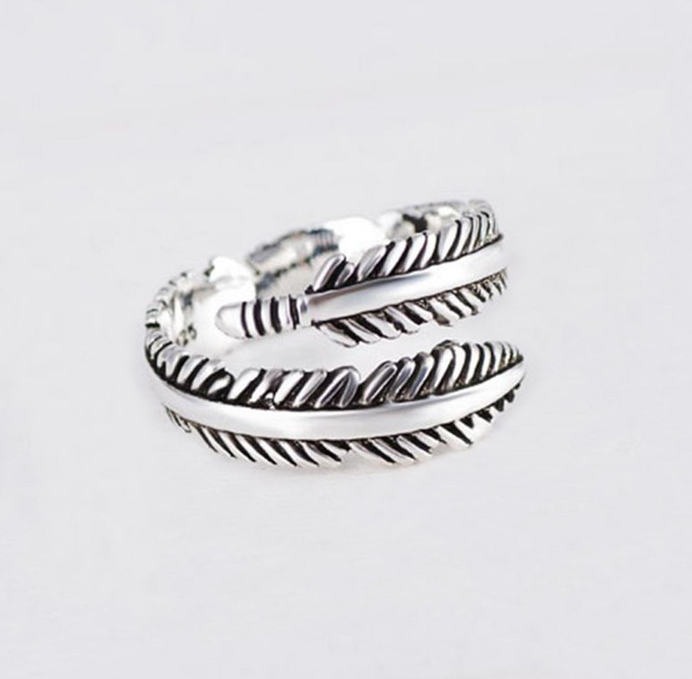 Fablcrew Women Feather Shape Open Rings Adjustable Rings Fashion Jewelry Gift for Girls Size Adjustable