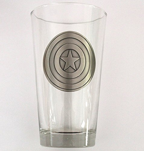 Hunter Beer Glass - Captain America Shield Medallion Pint Glass