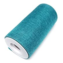 "Homeford FNS004344TRQ Faux Burlap Roll Frayed Edge, 6"" , 10 yd, Turquoise"
