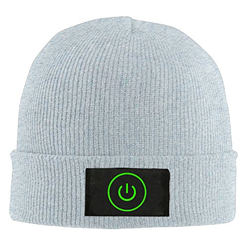 8d2f4a25a SKULL BEAN Gaming Power Button Beanie Hat Knit Cap Winter Fall for Adult (4  Colors) Ash