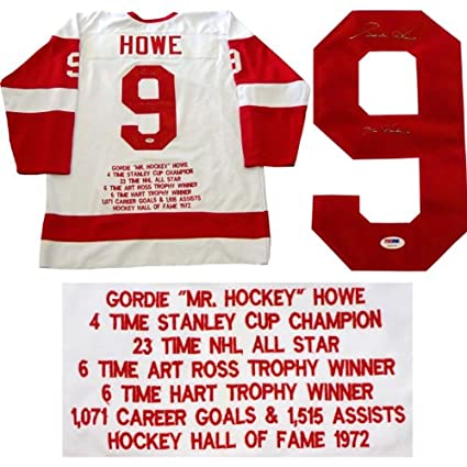439e6db04 Image Unavailable. Image not available for. Color  Gordie Howe Mr. Hockey  Autographed Detriot Red Wings Embroidered Stat Jersey ...