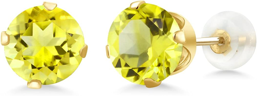 Gem Stone King 1.60 Ct Oval 7x5mm Canary Mystic Topaz 925 Sterling Silver Stud Earrings