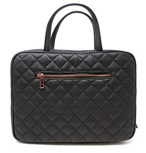Leather Toiletry Travel Bag for Women - Large Cosmetic Size with 4 Pockets - Rose Gold Hardware and Satin Interior - Black