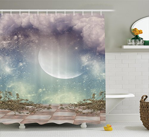 Ambesonne Mystic House Decor Collection, Fantasy Landscape Stars Milky Way Half Moon over the Sky View from Balcony , Polyester Fabric Bathroom Shower Curtain Set with Hooks, Turquoise Purple