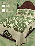 King Hawaiian Quilt bedding Comforter 100% cotton with two pillow shams Fern Green