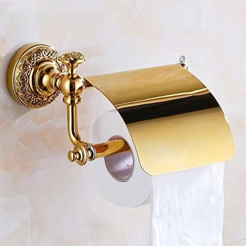 YUTU THG001 Zirconium Gold Solid Brass Toilet Paper Holder Wall-Mounted Polished Carved Base Bathroom Tissue Rack Accessories