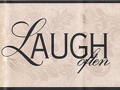 "Live Love Laugh Ivory Damask Vines Wallpaper Border Retro Design, Roll 15' x 7"""