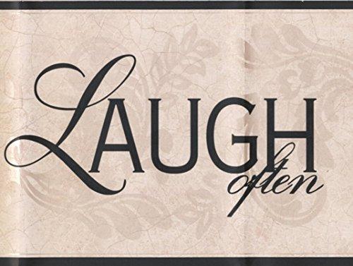 Live Love Laugh Ivory Damask Vines Wallpaper Border Retro Design, Roll 15' x 7