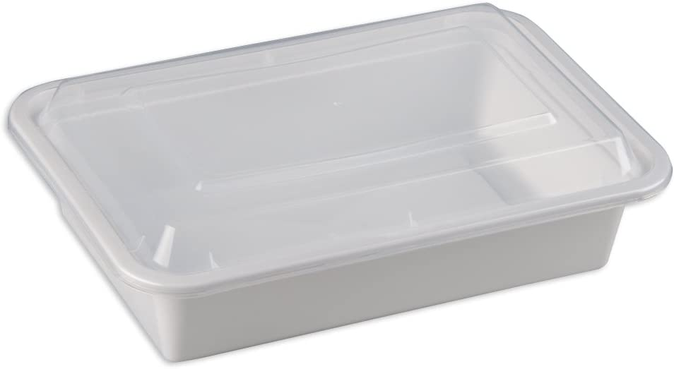 SAFEPRO 38 oz. White Rectangular Microwavable Container with Clear Lid, Lunch Food Box, Plastic Take-Out Containers (Case of 50)