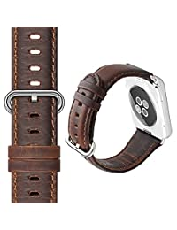 Apple Watch Band 42mm, XGUO Genuine Leather Apple Watch Strap Replacement With Secure Stainless Steel Clasp Buckle - Dark Brown