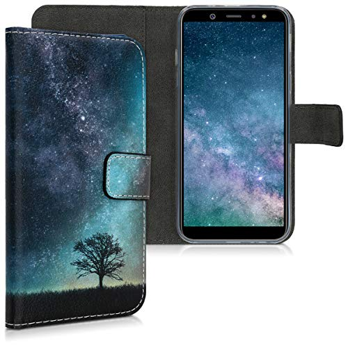 kwmobile Wallet Case for Samsung Galaxy A6 (2018) - PU Leather Protective Flip Cover with Card Slots and Stand - Blue/Grey/Black
