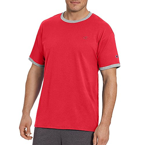 Champion Men's Classic Jersey Ringer Tee, Scarlet/Oxford Gray Heater, M from Champion