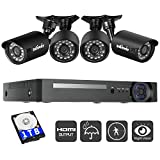 Zclever 4 Outdoor 1080N HD 1200TVL Home Security Camera System with 8 Channel 1080N AHD Surveillance DVR with 1TB Hard Drive