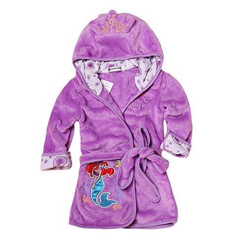 (Happy childhood Baby Boys Girls Cartoon Bathrobe Soft Coral Fleece Infant Toddler Muticolored Sleepwear Outfit (Purple, Size 130: 5-6T))