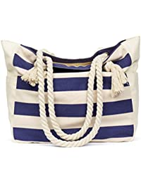 Large Beach Travel Tote Bag Canvas Shoulder Bag with Cotton Rope Handle