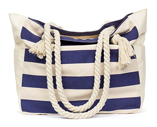 Malirona Beach Canvas Travel Tote Bag (Blue Stripes) (Stripe Beach Bag)