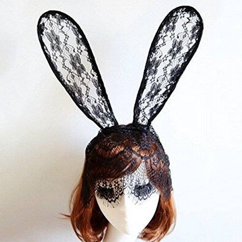 Spritech(TM) Women's Girls Fashion Lace Bunny Ears Hair Band Rabbit Ears Head Band with Veil for Catwalk Shows Club Bar Party Costume Ball Black