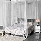 La Vogue Four Corner Post Bed Canopy Mosquito Net Full Queen King Size Bed Net White