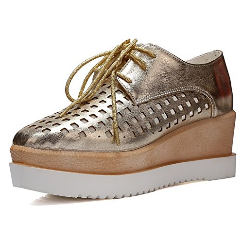 toe Closed Solid Wedge Soft Platform Pumps Women's shoes and Gold with WeiPoot Material AqIwXSA