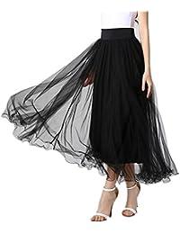 Long Skirt,Women Elastic Waist Floor Length Full Ankle Blending Summer Beachwear Dress Long Maxi Skirt