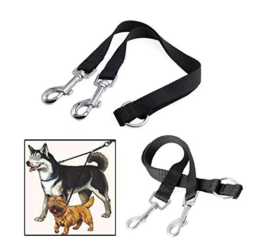 UPC 701599560318, Pecute® New Black Nylon Coupler Leash 1 Lead Duplex2 Way Splitter Multiple Dual Double Leash Two Dog Pet Walk Walking Necklace- Christmas Gift