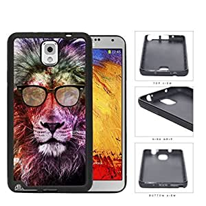 Cool Hipster Lion with Eyeglasses and Colorful Nebula Background Samsung Galaxy Note III 3 N9000 Rubber Silicone TPU Cell Phone Case