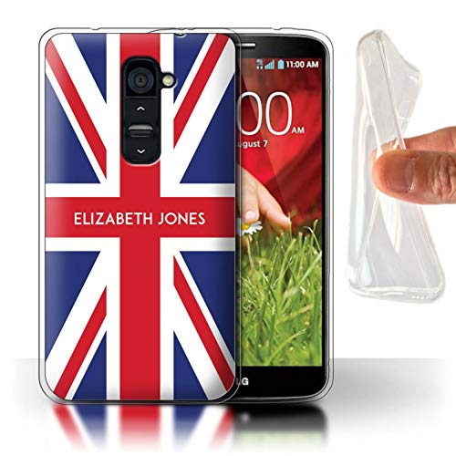 Personalized Custom National Nation Flag Gel/TPU Case for LG G2 / Great Britain/British Design/Initial/Name/Text DIY Cover (Phone Union Cover G2 Lg For Jack)