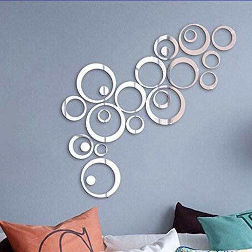CUGBO Crystal Mirror Wall Stickers Acrylic 3D Circle Round Wall Decal Removable DIY Bedroom Living Room Home Decor - Silver Cheap Mirrors