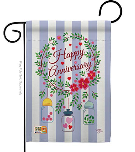 Breeze Decor - Happy Anniversary Special Occasion - Everyday Family Impressions Decorative Vertical Garden Flag 13