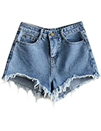 Women's Cutoff Pocket Distressed Ripped Jean Denim Shorts