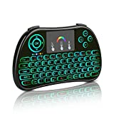 (Updated With Coloful Backlit)QQPOW 2.4GHz Colorful Backlit Wireless Mini Keyboard, Mouse Touchpad Combo, Best Remote Control For Android tv box,HTPC,IPTV,PC,Raspberry pi 3,Pad and More Device (New Colorful Backlit)